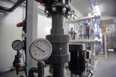 Pressure Gauge. In a factory stock photography