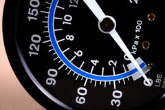 Pressure Gauge. Air pressure gauge with needle at zero, no pressure stock photo