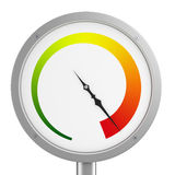 Pressure gauge. Isolated on white background in red area closeup Royalty Free Stock Images