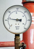 Pressure gauge. Probably from an industrial HVAC system. Dual scale in metric and imperial units. Small words Made in Sweden at the bottom royalty free stock photo