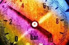Pressure gauge. Image shows a working pressure gauge instrument in an artistic fashion stock photography
