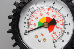 Pressure gauge. With minimum preasure royalty free stock photo