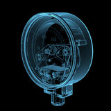 Pressure gauge. (3D x-ray blue transparent isolated on black stock illustration