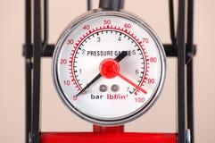 Pressure Gauge. On a foot pump measuring in bars royalty free stock images