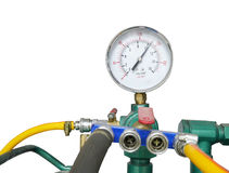 Pressure gauge with air compressure Royalty Free Stock Image