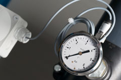 Pressure Gauge in bar (0-6) Stock Photography