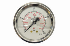 Pressure gauge in bar and psi unit isolated on a white backgroun Royalty Free Stock Photography