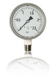Pressure gauge in BAR unit,bourdon tube type isolate on white with clipping path Royalty Free Stock Photos