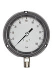 Pressure gauge in BAR unit,bourdon tube type isolate on white with clipping path Royalty Free Stock Photography