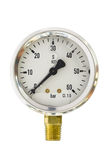 Pressure gauge in BAR unit,bourdon tube type isolate on white with clipping path Stock Photos