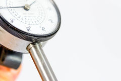 Pressure gauge with black text on a white face Stock Images