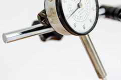 Pressure gauge with black text on a white face Royalty Free Stock Image