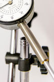 Pressure gauge with black text on a white face Stock Image