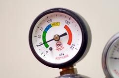 Pressure Gauge(Bourdon Gauge). Dial of a pressure gauge known as a Bourdon Gauge, used on a gas cylinder Stock Image