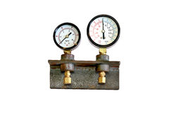 Pressure gauge. Fabricated pipe coupling Royalty Free Stock Image