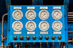 Pressure gauge in factory Royalty Free Stock Images