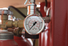 Pressure gauge on a gas tank Stock Photography