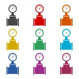 Pressure gauge icon, Manometer icon, Pressure meter, color icons set. Simple vector icon Royalty Free Stock Photo