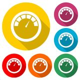 Pressure gauge icon, speed meter, color icon with long shadow. Simple vector icons set Royalty Free Stock Photos
