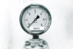 Pressure gauge on industrial Royalty Free Stock Photo