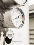 Pressure gauge and level gauge in cryogenic liquid gas supply Royalty Free Stock Images