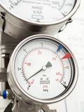 Pressure gauge and level gauge in cryogenic liquid gas supply Royalty Free Stock Photography
