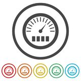 Pressure gauge, Manometer icon, Pressure meter icon, 6 Colors Included. Simple vector icons set Royalty Free Stock Image