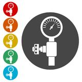 Pressure gauge, Manometer icon, Pressure meter icon. Simple vector icons set royalty free illustration