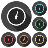Pressure gauge - Manometer icons set with long shadow Stock Photo