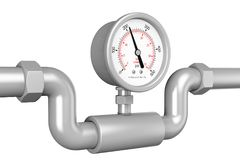 Pressure Gauge Manometer in Industrial Pipe. 3d Rendering. Pressure Gauge Manometer in Industrial Pipe on a white background. 3d Rendering Royalty Free Stock Image