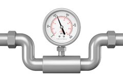 Pressure Gauge Manometer in Industrial Pipe. 3d Rendering. Pressure Gauge Manometer in Industrial Pipe on a white background. 3d Rendering Stock Images