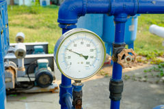 Pressure gauge, measuring instrument close up Stock Photo