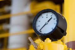 Pressure gauge for measuring pressure in the system, Oil and gas process used pressure gauge to monitor pressure condition Royalty Free Stock Images