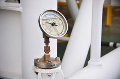 Pressure gauge for measuring pressure in the system, Oil and gas process used pressure gauge to monitor pressure condition Stock Photography