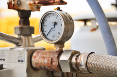Pressure gauge for measuring pressure in the system, Oil and gas process used pressure gauge to monitor pressure condition Stock Photos
