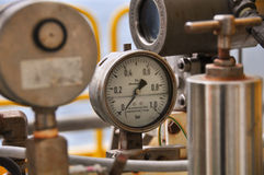 Pressure gauge for measuring pressure in the system, Oil and gas process used pressure gauge to monitor pressure condition Royalty Free Stock Photo