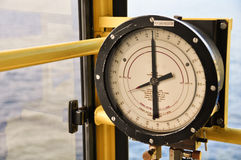 Pressure gauge for measuring pressure in the system, Oil and gas process used pressure gauge to monitor pressure condition Stock Photo