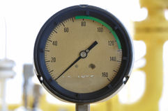 Pressure gauge for measuring pressure in the system, Oil and gas process used pressure gauge to monitor pressure condition inside. Royalty Free Stock Image