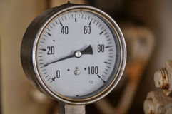 Pressure gauge for measuring pressure in the system, Oil and gas process used pressure gauge to monitor pressure condition inside. Stock Image