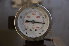Pressure gauge for measuring pressure in the system, Oil and gas process used pressure gauge to monitor pressure condition inside. Stock Photography