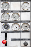 Pressure gauge for measuring pressure in the system, Oil and gas process Stock Images