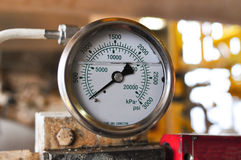 Pressure gauge for measuring pressure in the system Royalty Free Stock Photos