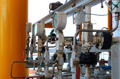 Pressure gauge for measuring pressure in the system, Oil and gas Stock Photos