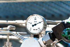 Pressure gauge for measuring pressure in the system Stock Photos