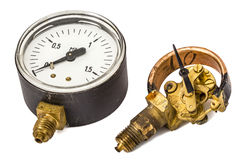 Pressure gauge mechanism in disassembled form, isolated on white Stock Photos