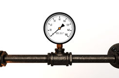 Pressure gauge with metal tube. On white background stock photography