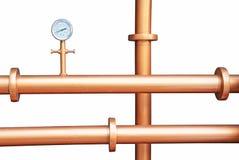 Pressure gauge meter installed on copper pipes Stock Image