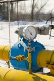 The pressure gauge is mounted on the gas pipe Stock Images