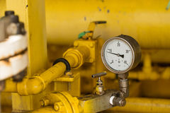 Pressure gauge in oil and gas production process for monitor condition, The gauge for measure in industry job Royalty Free Stock Photo