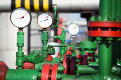 Pressure gauge in oil and gas production process Royalty Free Stock Image